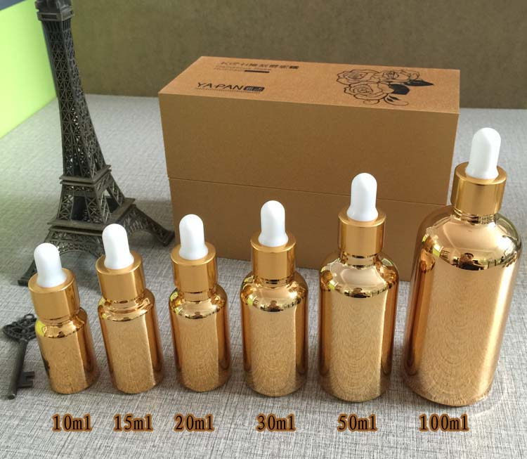 100pcs Wholesale Unique Gold 15ml Glass Dropper Bottle For