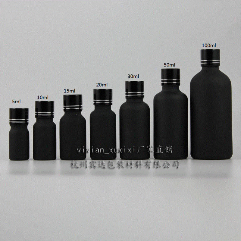 d247f69151c3 30pcs 20ml black frosted Glass Essential Oil Bottle With black aluminum  screw cap