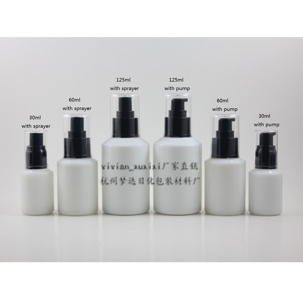 9df1d69e71e2 30pcs 125ml white Glass lotion bottle with black plastic pump