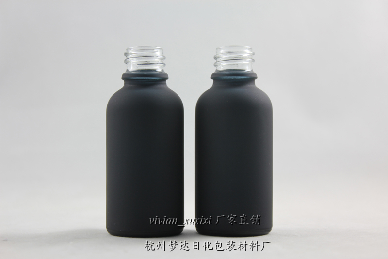50pcs 1oz Black Frosted Essential Oil Glass Bottle With